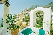 Le Sirenuse Hotel in Positano Itlay.  The Amalfi coast on the Gulf of Sorrento has become a popular resort destination, known for its beautiful scenery.