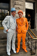 David Niblock from Ballinlough and Barry O Mahony from Doughlas at Hotel Meyrick in Eyre Sq. Galway for their best dressed Lady Competition during Galway's Race week . Photo:Andrew Downes.