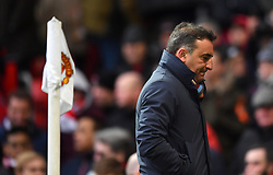 Swansea City manager Carlos Carvalhal reacts at half time during the Premier League match at Old Trafford, Manchester.