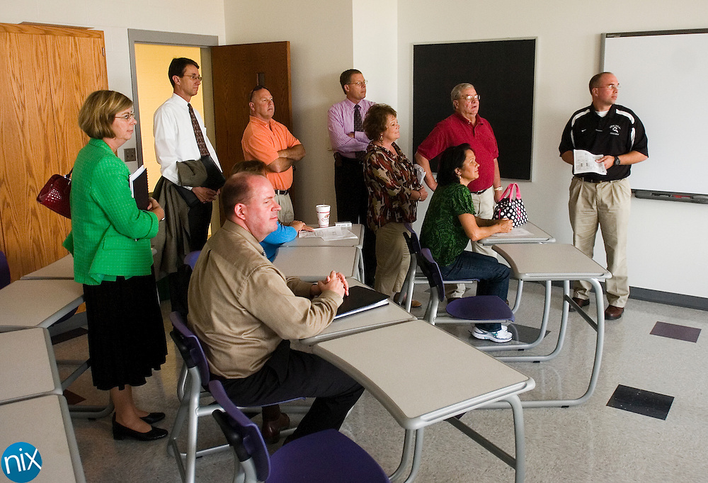 The Cabarrus County Board of Education tour a class room at the new Cox Mill High School Monday afternoon.