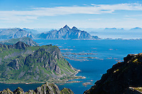 Scenic view from summit of Justadtind over Vestfjord, Vestvagoy, Lofoten islands, Norway