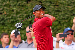 August 26, 2018 - Paramus, NJ, U.S. - PARAMUS, NJ - AUGUST 26:  Tiger Woods of the United States plays his shot from the 17th tee  during the final round of The Northern Trust on August 26, 2018 at the Ridgewood Championship Course in Ridgewood, New Jersey. (Photo by Rich Graessle/Icon Sportswire) (Credit Image: © Rich Graessle/Icon SMI via ZUMA Press)