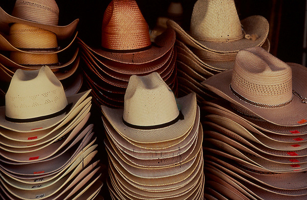 Stacks of cowboy hats