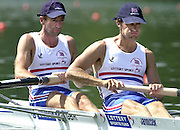 2001 World Rowing Championships, Lucerne, SWITZERLAND, Lake Rotsee, GBR LM2-, Bow, Peter HAINING and Nick STRANGE, © Peter Spurrier/Intersport-Images Tel +44 7973 819 551 email images@intersport-images.com. 20010819 FISA World Rowing Championships, Lucerne, SWITZERLAND
