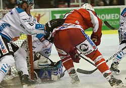 07.10.2012, Stadthalle, Klagenfurt, AUT, EBEL, EC KAC vs EHC Black Wings, 10. Runde, im Bild // b06, Alex Westlund (EHC Black Wings, #32), Jamie Lundmark (Kac, #74) during the Erste Bank Icehockey League 10th Round match betweeen EC KAC and EHC Black Wings at the City Hall, Klagenfurt, Austria on 2012/10/07. EXPA Pictures © 2012, PhotoCredit: EXPA/ Mag. Gert Steinthaler