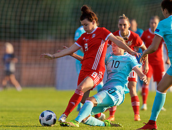 NEWPORT, WALES - Tuesday, June 12, 2018: Wales' Angharad James and Russia's Nadezhda Smirnova during the FIFA Women's World Cup 2019 Qualifying Round Group 1 match between Wales and Russia at Newport Stadium. (Pic by David Rawcliffe/Propaganda)