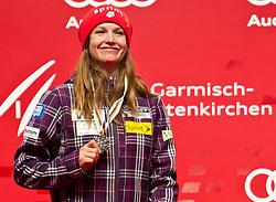 08.02.2011, Medalplaca, Garmisch Partenkirchen, GER, FIS Alpin Ski WM 2011, GAP, Lady Super G, Medal Ceremony, im Bild Julia MANCUSO (USA, Platz 2) // Julia MANCUSO (USA, place 2)  during Women Super G, Fis Alpine Ski World Championships in Garmisch Partenkirchen, Germany on 8/2/2011. EXPA Pictures © 2011, PhotoCredit: EXPA/ J. Groder