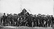 Major-General George Gordon Meade and staff  from the book ' The Civil war through the camera ' hundreds of vivid photographs actually taken in Civil war times, sixteen reproductions in color of famous war paintings. The new text history by Henry W. Elson. A. complete illustrated history of the Civil war