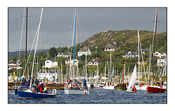Yachting- The first days inshore racing  of the Bell Lawrie Scottish series 2002 at Tarbert Loch Fyne. Near perfect conditions saw over two hundred yachts compete. <br />The fleet leaving Tarbert Harbour on Saturday Morning<br /><br />Pics Marc Turner / PFM