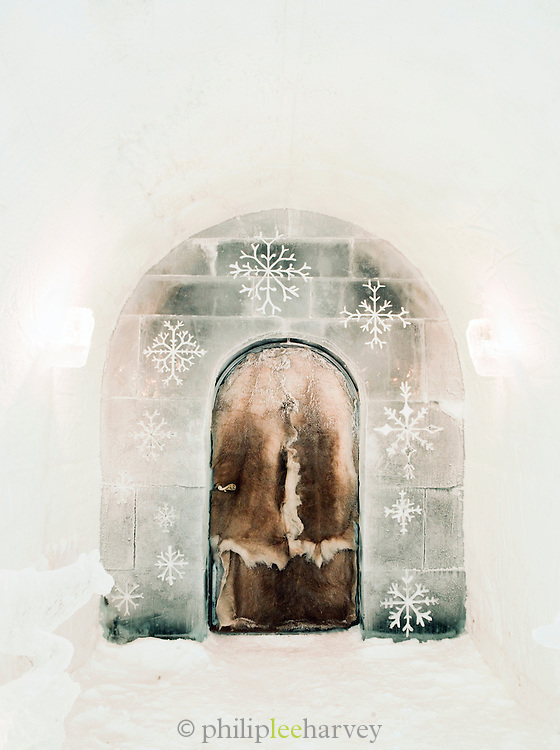 Entrance hung with reindeer hide at an ice hotel at Alta, Finnmark region, northern Norway