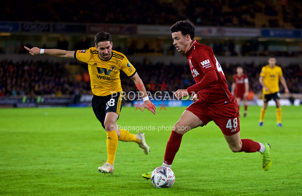 WOLVERHAMPTON, ENGLAND - Monday, January 7, 2019: Wolverhampton Wanderers' João Moutinho (L) and Liverpool's Curtis Jones during the FA Cup 3rd Round match between Wolverhampton Wanderers FC and Liverpool FC at Molineux Stadium. (Pic by David Rawcliffe/Propaganda)