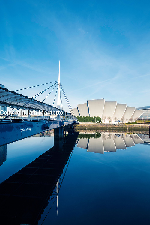 View of Bells Bridge, SEC Armadillo  beside River Clyde on blue sky winter day, Scotland, United Kingdom
