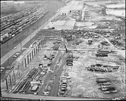 """Ackroyd 13098-2 """"Schnitzer Steel Products Co. aerial of their building. February 5, 1965"""" (NW Front, south of Gunderson)"""