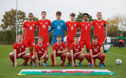 WREXHAM, WALES - Wednesday, October 30, 2019: players line-up for a team group photograph before the 2019 Victory Shield match between Wales and Republic of Ireland at Colliers Park. Back row L-R: Kai Ludvigsen, Ruben Davies, Ronnie Hollinghshead, Here Hewitt-White, Zachary Bell, captain Zak Williams. Front row L-R: Aaron Bennett, Morgan Williams, Kian Jenkins, Joel Cotterill, Cameron Congreve. (Pic by David Rawcliffe/Propaganda)