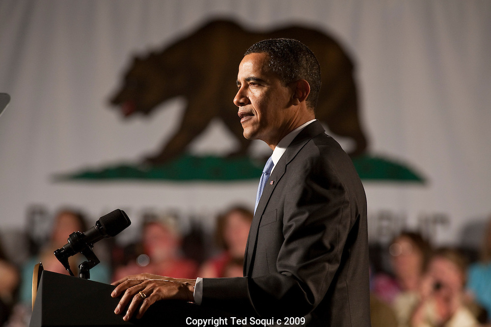 President Barack Obama held at town hall style meeting with the people of Costa Mesa, CA. The President answered several questions form the crowd. This was his first stop on his two day visit to Southern California..