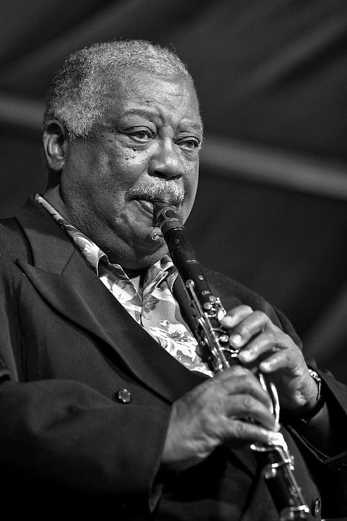 New Orleans jazz clarinetist and educator Alvin Batiste performing on the WWOZ stage in the Jazz Tent at the New Orleans Jazz and Heritage Festival on April 24, 2005 in New Orleans, Louisiana. USA.