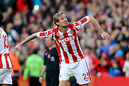 Peter Crouch of Stoke City celebrates after scoring his teams 2nd goal to make it 2-2. Premier league match, Stoke City v Leicester City at the Bet365 Stadium in Stoke on Trent, Staffs on Saturday 4th November 2017.<br /> pic by Chris Stading, Andrew Orchard sports photography.