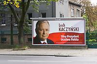 Political poster for Lech Kaczynski in Krakow Poland