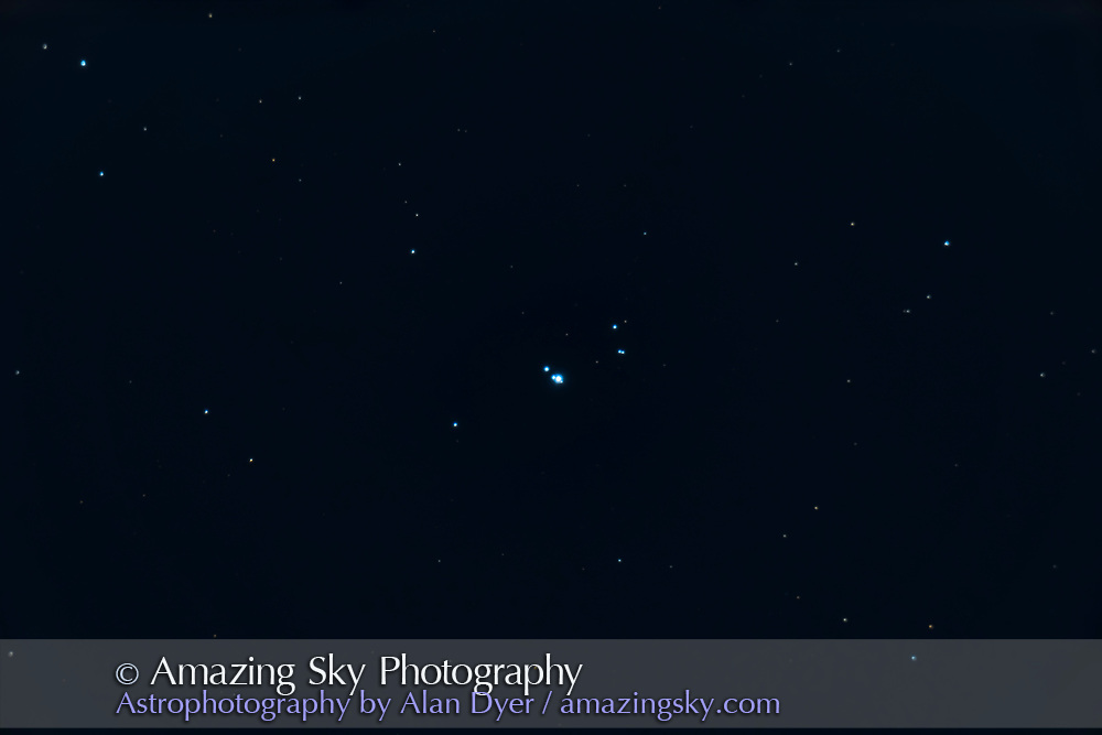 The multiple star Sigma Orionis, near Zeta Orionis and Orion's Belt in the constellation of Orion. <br /> <br /> Captured with the Sony a7III in a stack of 9 x 8-second unguided exposures at ISO 1600 with the Celestron C9.25 inch SXCT at f/10 on a moonlit night.