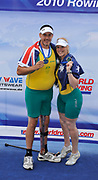 Bled, SLOVENIA, Adaptive Rowing. Awards Dock. Silver medalist. AUS TAMix2x. Grant BAILEY and Kathryn ROSS, FISA World Cup, Bled. Lake Bled.   Saturday  29/05/2010  [Mandatory Credit Peter Spurrier/ Intersport Images]<br /> Crew