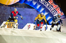 04-02-2012 SKATING: RED BULL CRASHED ICE WORLD CHAMPIONSHIP: VALKENBURG<br /> (L-R) Arttu Pihlainen FIN, Lari Joutsenlahti FIN during the Quarter final<br /> ©2012-FotoHoogendoorn.nl / Peter Schalk