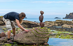Dunbar, , Scotland, United Kingdom 10 July 2021. European Stone Stacking Championship: The first day of the event, which is part of the Edinburgh Science Festival.  Pictured: Jon Foreman, from Pembrokeshire Wales..<br /> Sally Anderson | EdinburghElitemedia.co.uk