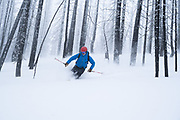Diamond Peaks Ski Patrol director Owen Richard skis through the Cameron Peak Fire burn scar near Montgomery Pass, Feb. 6, 2021.