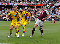 Football - 2021 / 2022 Premier League - West Ham United vs Crystal Palace - London Stadium - Saturday 28th August 2021<br /> <br /> Declan Rice  of West Ham and Joachim Andersen with Conor Gallagher of C Palace<br /> <br /> Credit : COLORSPORT/Andrew Cowie