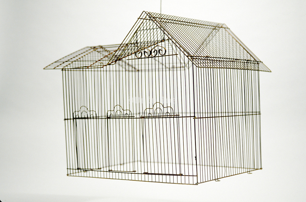 Floating house shaped birdcage