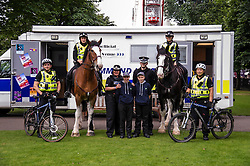 Pictured: PC Cairan Payne Falkirk Community Division, PC Gordon Mackie,on Lauder, PC Kaeran MUir on Stirling, PC Jphnny Wong, Superintendant Lesley Clark, Coleen Thomson (16), Ben O'Toole (15) and Special Constable Michael Carde.<br /> <br /> Superintendent Lesley Clark and collagues gathered at  at the police base for the Operation Summer City 2016 campaign, Venue 999<br /> <br /> (c) Ger Harley | Edinburgh Elite media
