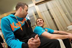 Matjaz Brumen and David Miklavcic during visit in the rooms of Slovenia Men Handball team during 5th day of 10th EHF European Handball Championship Serbia 2012, on January 19, 2012 in Hotel Srbija, Vrsac, Serbia.  (Photo By Vid Ponikvar / Sportida.com)