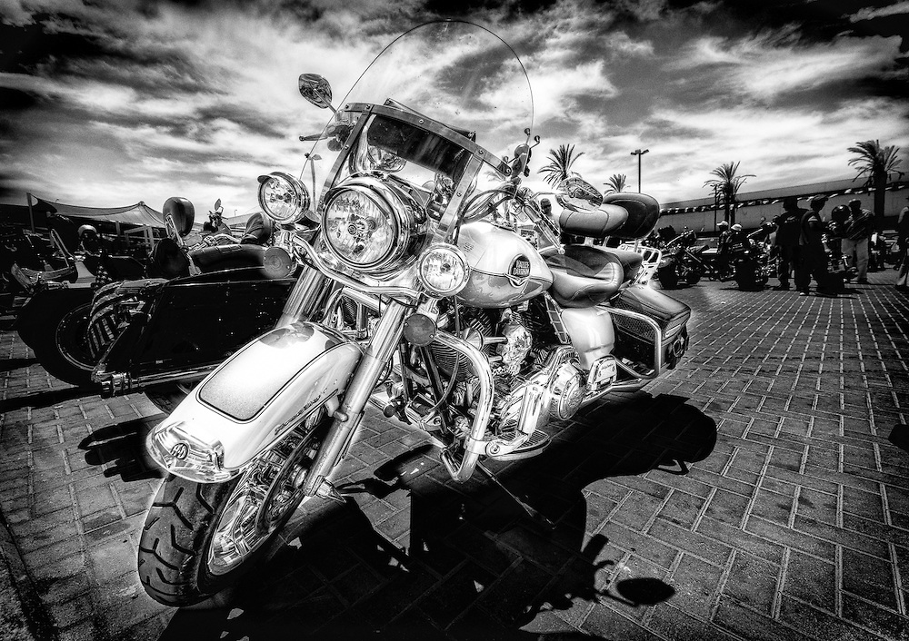 The Harley in black and white