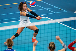 Emma Rekar #5 of Sliedrecht Sport in action during the supercup semifinal between VC Sneek and Sliedrecht Sport on October, 03 2020 in Van der Knaaphal, Ede