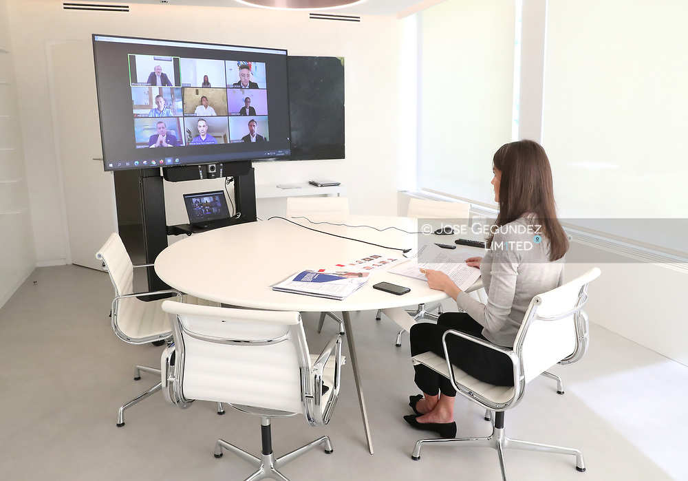 Queen Letizia of Spain attends a videoconference with the representatives of the National Federation of Sports Facilities and Gyms at Zarzuela Palace on May 22, 2020 in Madrid, Spain
