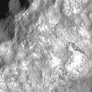 The Bürg Crater, the debris piles and outcropping wall material, with strong variations in reflectance.