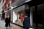 High end exclusive shopping stores on Sloane Street, London. Chanel store.