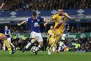 Seamus Coleman of Everton looks to shoot under pressure from Damien Delaney of Crystal Palace. Premier league match, Everton v Crystal Palace at Goodison Park in Liverpool, Merseyside on Friday 30th September 2016.<br /> pic by Chris Stading, Andrew Orchard sports photography.