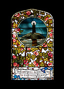 """Window 15 on plan. 34.5"""" w x 62"""" h to inside of wood frame.<br /> <br /> Design by Frederic Crowninshield, based on a Christmas card painted by Daisy Doane, executed by Donald MacDonald of Boston.<br /> <br /> The oldest window at St. Mary's, the lighthouse window was originally installed over the altar in the first, wooden building. When the stone church was built, the window was placed over the altar again. It was moved to its present location near the entrance in 1925, when the Doane memorial window was intalled.<br /> <br /> Saint Mary's by-the-Sea, Northeast Harbor, Maine."""