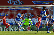 Cardiff City's Kieffer Moore (10) shoots for goal during the EFL Sky Bet Championship match between Cardiff City and Nottingham Forest at the Cardiff City Stadium, Cardiff, Wales on 2 April 2021.