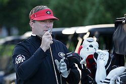 Kirby Smart warms up during the Chick-fil-A Peach Bowl Challenge at the Oconee Golf Course at Reynolds Plantation, Sunday, May 1, 2018, in Greensboro, Georgia. (Marvin Gentry via Abell Images for Chick-fil-A Peach Bowl Challenge)