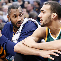 20 November 2016: Utah Jazz center Boris Diaw (33) talks to Utah Jazz center Rudy Gobert (27) during the Denver Nuggets 105-91 victory over the Utah Jazz, at the Pepsi Center, Denver, Colorado, USA.