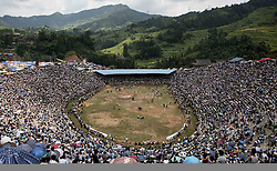 September 6, 2016 - China - Guizhou, CHINA- August 21 2016: (EDITORIAL USE ONLY. CHINA OUT) Sixty bulls from different areas of southwest China¡¯s Guizhou Province and Guangxi Zhuang Autonomous Region attend a bull fighting competition in Congjiang County, Guizhou Province on August 21, 2016. Thousands of people flock to watch the bull fighting competition. Organized bull fighting has been a traditional observance during certain festivals in China by ethnic minorities including the Miao and Dong ethnic groups. Though some may find it barbaric, it has been practiced for more than 2,000 years, as an act of prayer for bumper harvests and social peace. (Credit Image: © SIPA Asia via ZUMA Wire)
