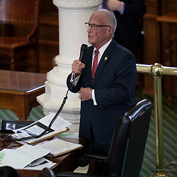 Texas Senate action on Monday, May 17, 2021 showing Sen. Bob Hall, R-Edgewood