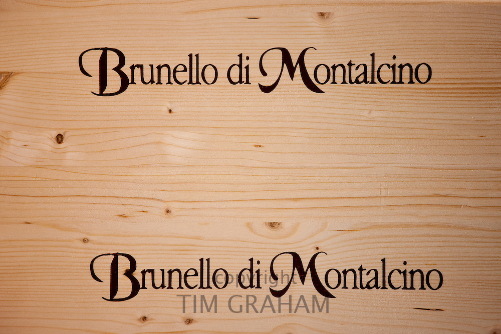 Brunello di Montalcino wooden wine cases stored in at the Palazzo wine estate in Val D'Orcia, Tuscany, Italy