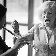 Recording artist, soloist, and Donna Hieken Flute Chair at New England Conservatory Paula Robison reacts to a students performance during a master class at Interlochen Center for the Arts in Interlochen, Michigan.