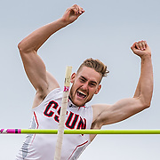 Taylor Cudequest reacts as he clear the pole vault bar on his way to fourth in the men's decathlon at the Big West Track & Field Championship at Cal State Fullerton, May 6, 2017.