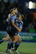 Cory Allen of Cardiff Blues (l)celebrates with his teammates after he scores his 1st try of the match. European rugby challenge cup match, pool 4, Cardiff Blues v Pau at the BT Sport Cardiff Arms Park in Cardiff, South Wales on Friday 21st October 2016.<br /> pic by Andrew Orchard, Andrew Orchard sports photography.