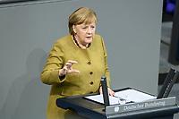 11 FEB 2021, BERLIN/GERMANY:<br /> Angela Merkel, CDU, Bundeskanzlerin, waehrend ihrer  Regierungserklaerung zur Bewaeltigung der Corvid-19-Pandemie, Plenum, Reichstagsgebaeude, Deutscher Bundestag<br /> IMAGE: 20210211-01-042<br /> KEYWORDS: Corona