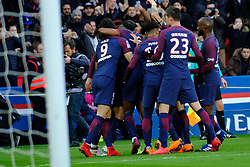 February 17, 2018 - Paris, France - joy of the Paris SG team after the second goal in the Ligue 1 championship game Paris SG against Strasbourg RC at the Parc des Princes Stadium in Paris - France..Paris SG won 5-2 (Credit Image: © Pierre Stevenin via ZUMA Wire)