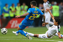 June 22, 2018 - Saint Petersburg, Russia - Fagner (L) of the Brazil national football team and Yeltsin Tejeda of the Costa Rica national football team vie for the ball during the 2018 FIFA World Cup match, first stage - Group E between Brazil and Costa Rica at Saint Petersburg Stadium on June 22, 2018 in St. Petersburg, Russia. (Credit Image: © Igor Russak/NurPhoto via ZUMA Press)